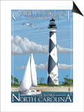 Cape Lookout Lighthouse - Outer Banks, North Carolina Prints by  Lantern Press