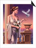 Aphrodite Feeding a Dove Print