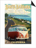 Santa Barbara, California - VW Van Scene Prints by  Lantern Press