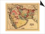 "Middle East ""Persia Arabia"" - Panoramic Map Art by  Lantern Press"