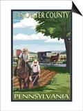 Lancaster County, Pennsylvania - Amish Farm Scene Plakater af  Lantern Press