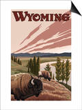 Yellowstone River Bison, Yellowstone National Park, Wyoming Posters by  Lantern Press