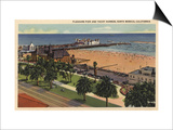 Santa Monica, California - Aerial of Pleasure Pier & Yacht Harbor Art by  Lantern Press