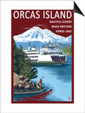Orcas Island, Washington - Ferry Scene Prints by  Lantern Press