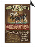 Minnesota - Moose Northwoods Lodge Posters by  Lantern Press