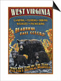 West Virginia - Black Bear Family Prints by  Lantern Press
