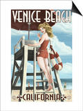 Venice Beach, California - Lifeguard Pinup Art by  Lantern Press