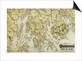 Mount Desert Island and Coast of Maine - Panoramic Map Posters by  Lantern Press