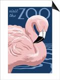 Flamingo - Visit the Zoo Art by  Lantern Press