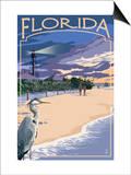 Florida - Lighthouse and Blue Heron Sunset Prints by  Lantern Press