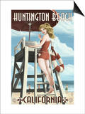 Huntington Beach, California - Lifeguard Pinup Posters by  Lantern Press