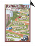 San Francisco, California - Lombard Street Art by  Lantern Press