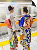 Japan, Tokyo, Girls in Kimono on Subway Platform Poster by Steve Vidler