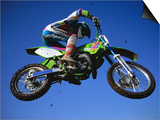 Jumping with Dirt Bike in Midair Prints