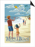 Kite Flyers - Myrtle Beach, South Carolina Posters by  Lantern Press