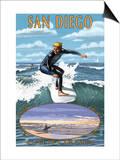 San Diego, California - Surfer Scene Posters