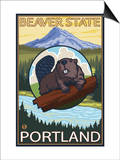 Beaver & Mt. Hood, Portland, Oregon Print by  Lantern Press