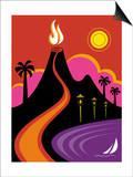 Volcano, Ocean and Lights in Hawaii Prints