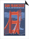 San Francisco, California - Golden Gate Bridge Posters by  Lantern Press