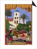 San Diego, California - Old Town Art by  Lantern Press