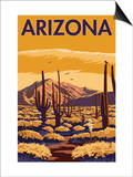 Arizona Desert Scene with Cactus Poster by  Lantern Press