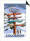 Steamboat Springs, Colorado - Ski Run Signpost Prints by  Lantern Press