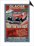 Glacier National Park - Red Jammer Print by  Lantern Press