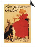 Paris, France - Vingeanne Milk Girl with Cats Advertisement Poster Poster by  Lantern Press