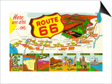 Map of Route 66 from Los Angeles to Chicago Prints by  Lantern Press