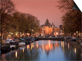 Kloveniers Burgwal Canal and Waag Historic Building, Nieuwmarkt, Amsterdam, Holland Prints by Michele Falzone