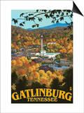 Gatlinburg, Tennessee Town Scene, c.2008 Poster by  Lantern Press