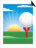 Golf Ball on Tee with Sun Print