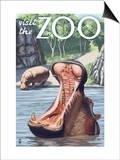 Visit the Zoo, Hippo Scene Prints by  Lantern Press