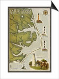 Lighthouse and Town Map - Outer Banks, North Carolina Art by  Lantern Press