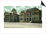 San Jose, California - Exterior View of Court House and Hall of Records Print by  Lantern Press