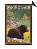 Black Bear in Forest, Anchorage, Alaska Posters