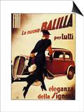 1930's Lady Running Towards Fiat Car, La Nuova Balilla per Tutti Eleganza Della Signora Posters