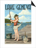 Lake Geneva, Wisconsin - Pinup Girl Fishing Print by  Lantern Press