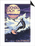 Redondo Beach, California - Night Surfer Posters by  Lantern Press