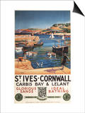 St. Ives, England - Harbor Scene with Girl and Gulls Railway Poster Posters