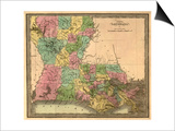 Louisiana - Panoramic Map Print by  Lantern Press