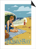 Morro Bay, California Beach Scene Art by  Lantern Press