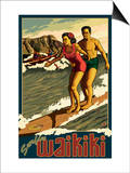 Duke Kahanamoku Surfing Scene, Waikiki, Hawaii Prints by  Lantern Press