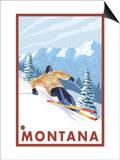 Downhhill Snow Skier, Montana Prints