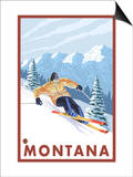Downhhill Snow Skier, Montana Prints by  Lantern Press