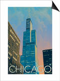 Chicago, Illinois, View of the Sears Tower Prints by  Lantern Press