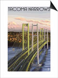 Tacoma, Washington - Narrows Bridge and Rainier Poster by  Lantern Press