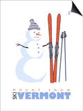 Mount Snow, Vermont, Snowman with Skis Print by  Lantern Press