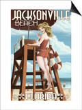 Jacksonville Beach, Florida - Lifeguard Pinup Girl Posters by  Lantern Press