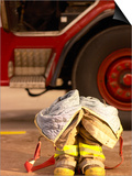 Firefighting Gear with Truck in Background Prints